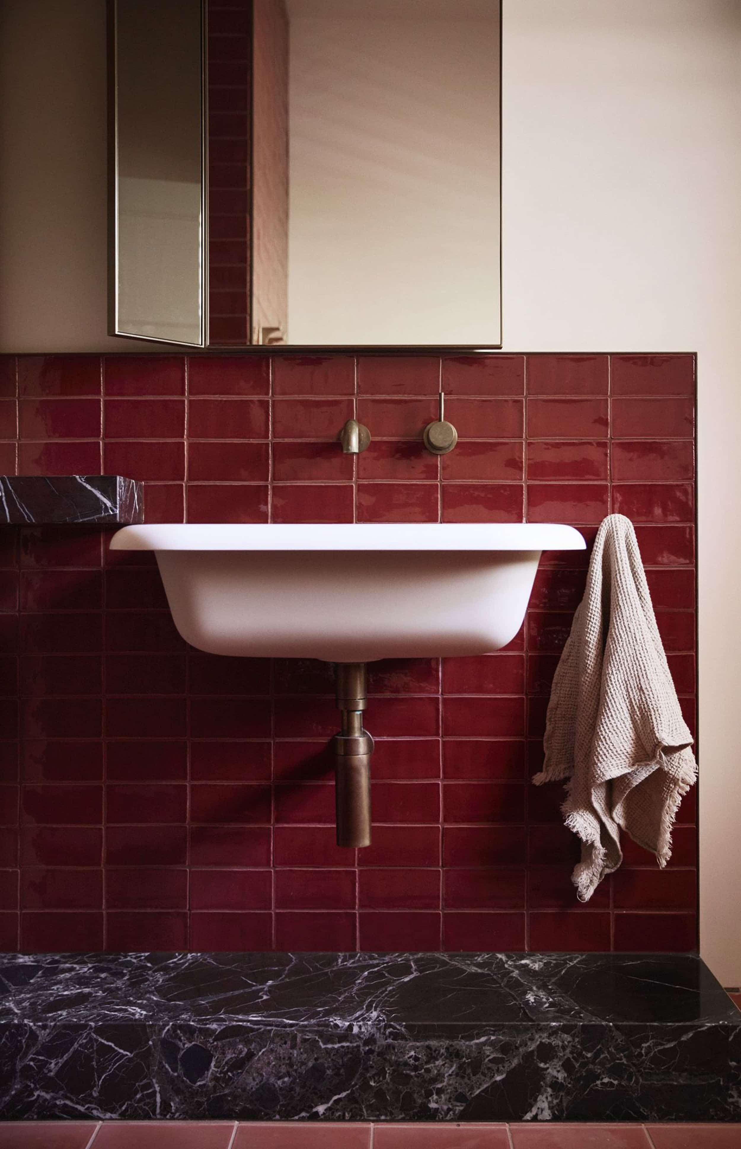 The 5 Accent Color Trends We Are Extremely Excited About In 2020 Emily Henderson In 2020 Burgundy Bathroom Flack Studio Australian Design