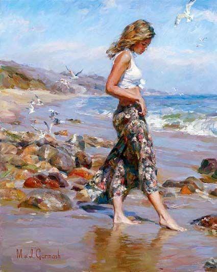 """Toes in the Sand"" by Michael & Inessa Garmash; art; artists; beach; ocean; blue ; water; beautiful paintings of women; painting; beauty"