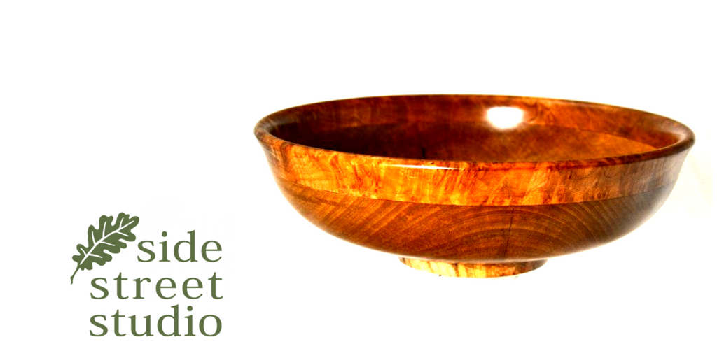 ARBUTUS AND MAPLE BURL SALAD BOWL     A beautiful salad bowl, skillfully hand turned by wood-turner Ray Franklin of Sidney B.C. The wood is local Arbutus wood with a lovely Western Maple Burl edge.  Finished with linseed oil and Bees Wax. Food safe.