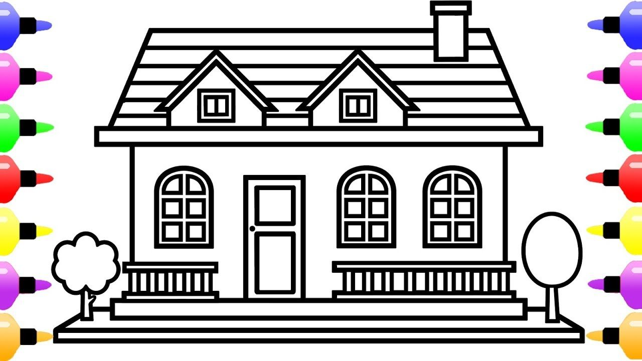 How to Draw a House for Kids & Coloring Sheets for Kids
