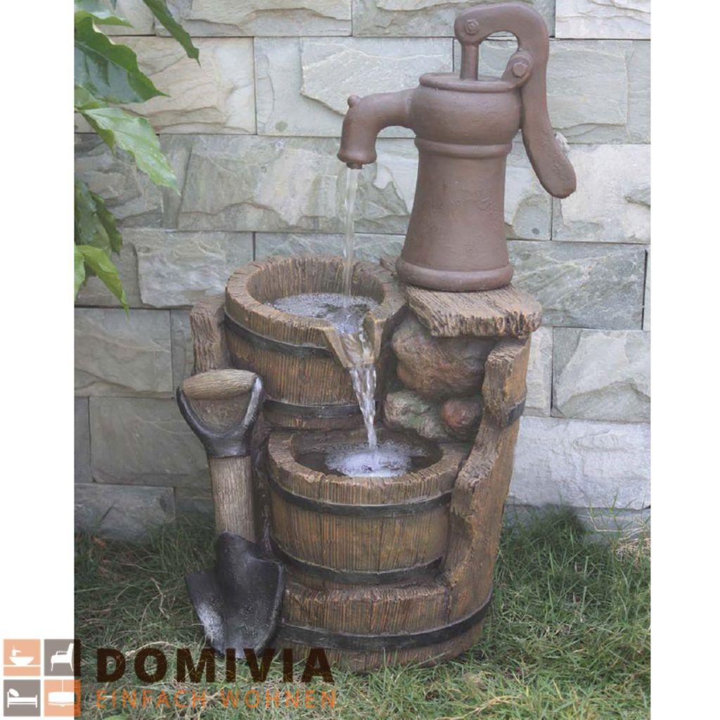 Brunnen In Holz /Stein Optik Mit Kaskade L33xB39xH59 Cm Garten Deko
