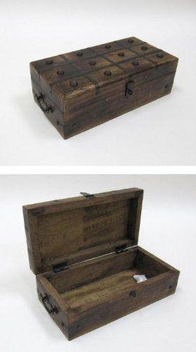 Treasure Chest Box Pirate Box W Iron Inlaid Nautical Jewelry Box