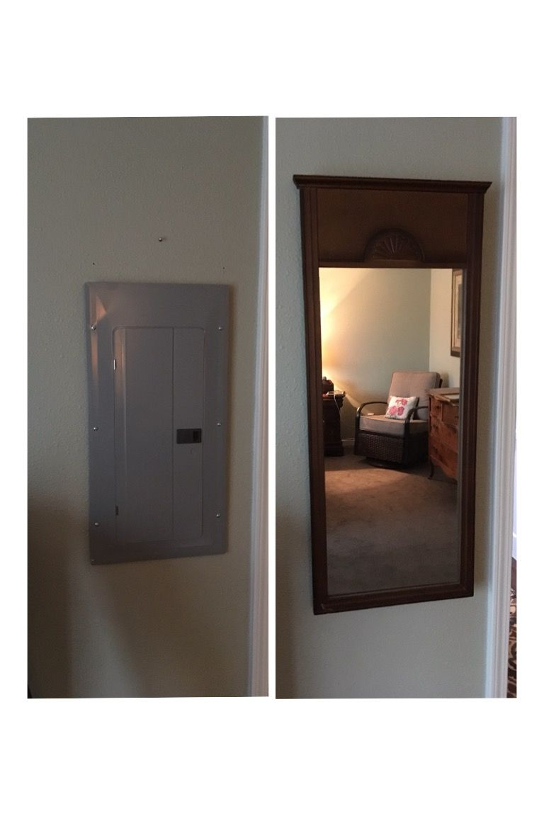 Hide an electrical box with a mirror or print. This was in our ...