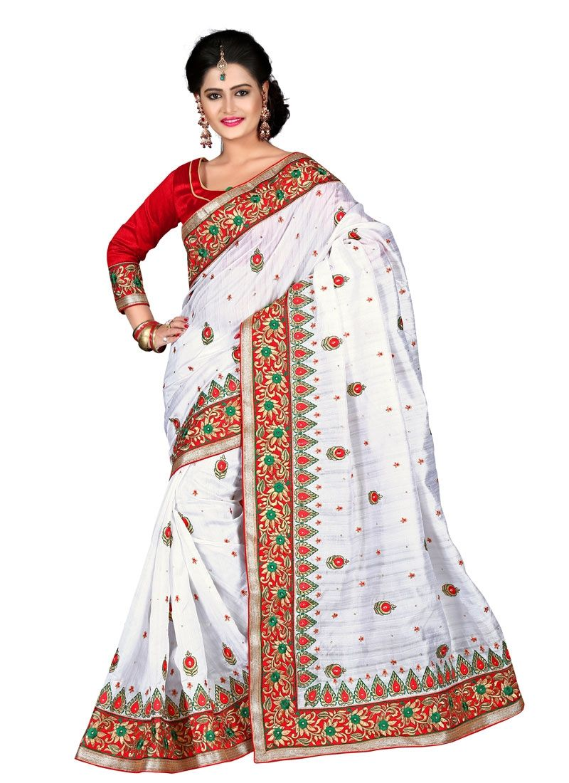 Make the heads turn after you dress up with this desirable white bhagalpuri silk designer saree. The enticing embroidered, patch border and resham work in the course of the attire is awe inspiring. Co...