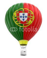 Hot Air Balloon With Portuguese Flag Clipping Path Included Balao De Ar Quente Balao De Ar Balao