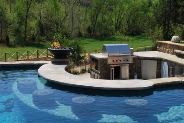 a pool around the barbecue