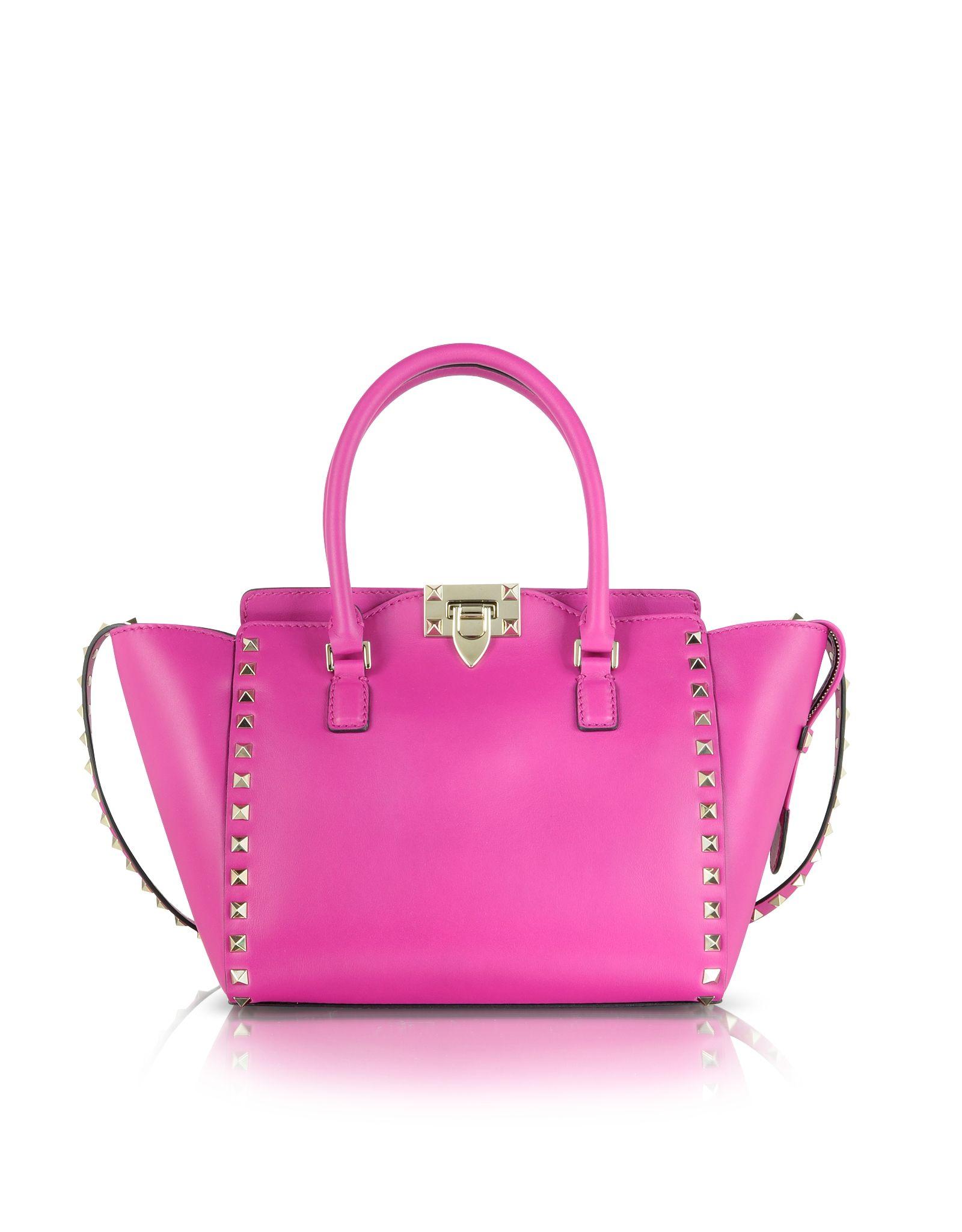73f1cc09d6 Valentino Rockstud Fuxia Leather Small Double Handle Bag | VALENTINO ...