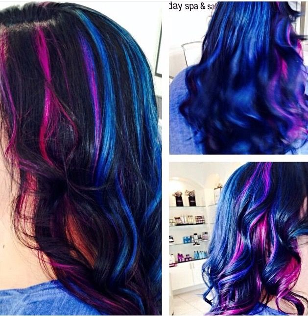 Pink Blue Purple And Black Highlights Mermaid Hair Black Hair With Highlights Hair Color Hair