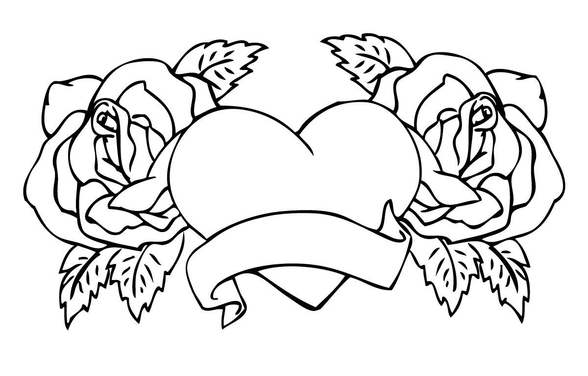 Coloring Pages Of Hearts And Flowers Heart Coloring Pages Unicorn Coloring Pages Rose Coloring Pages