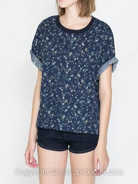 Dark Blue Round Neck Short Sleeve Floral Print T Shirt