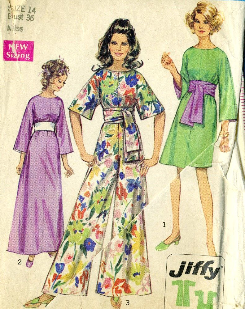 Vintage 60-70s Simplicity 8560 Misses Kimono Sleeve Dress and Wide ...