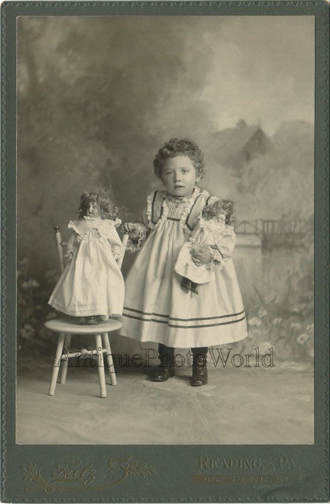 Cute Short Haired Girl with Two Porcelain Toy Dolls Antique Cabinet Photo | eBay