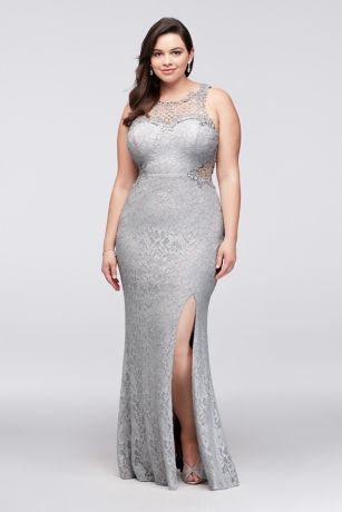 Glitter Lace Plus Size Gown With Geometric Neck David S Bridal Plus Size Gowns Plus Size Wedding Guest Dresses Plus Size Dresses
