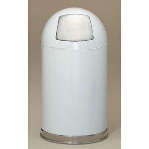 Witt Metal Series 12 Gallon Dome Top Trash Can In White Trash Can Metal Dome