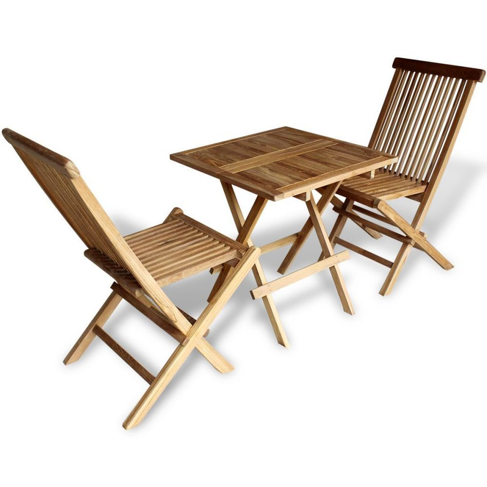 Wooden Bistro Set Table And 2 Chairs Folding Outdoor Garden Patio ...