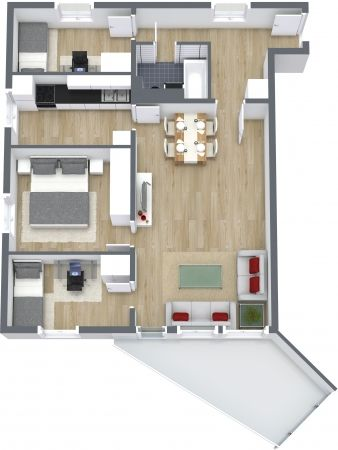 Aerial View For A 3D Floor Plan 3 Bedroom Dwelling With Hardwood Floors And Red Accents In The Decor 7000 Brand Name Furniture Items RoomSketcher