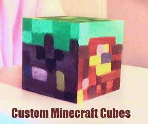 Custom - made to order - hand-painted minecraft cubes. 2 x 2 x 2 Wooden. I can make any cube you want and also if you buy 4 cubes as a set (Any