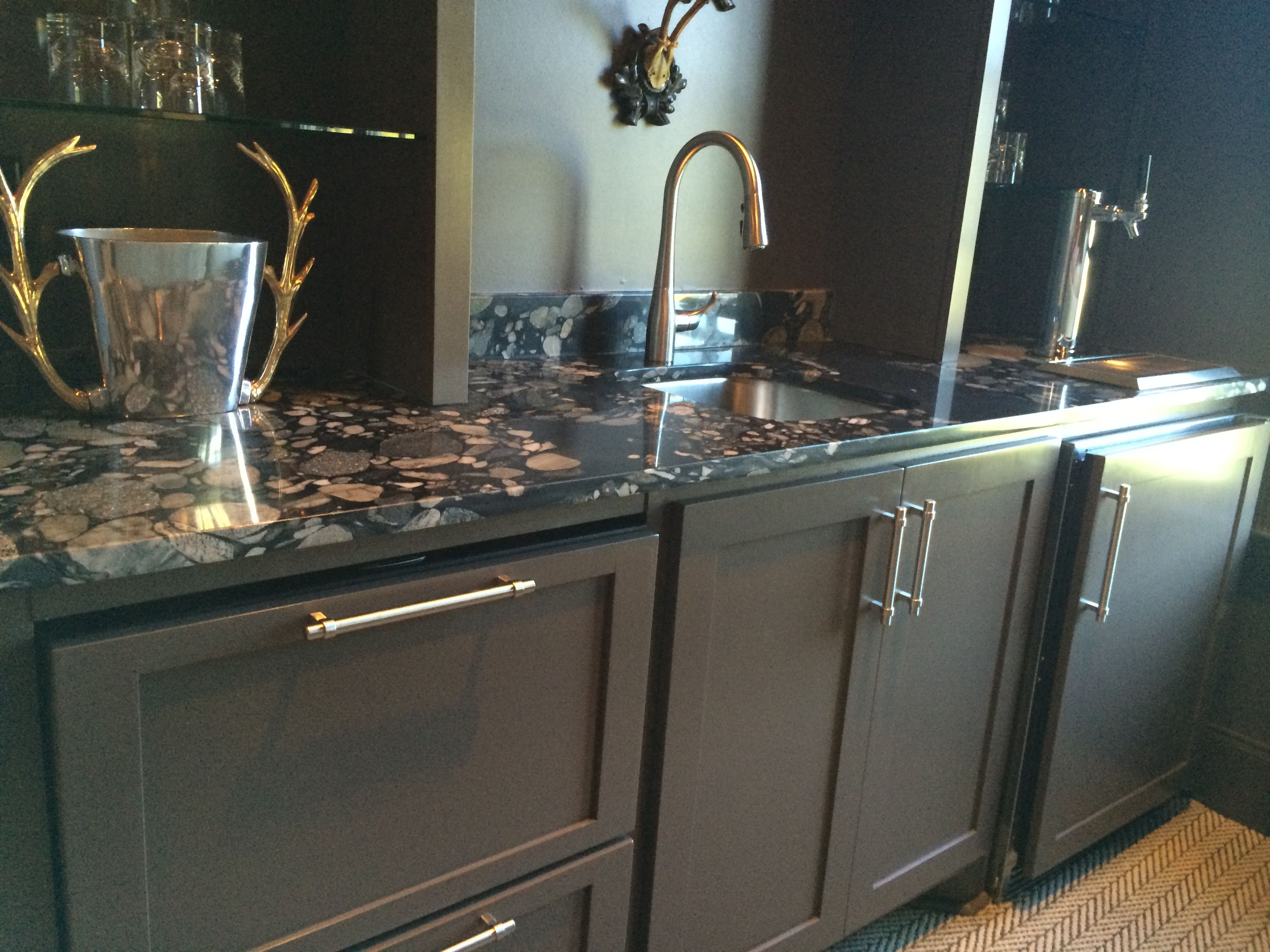 Black Marinace Granite Wet Bar Wet Bars Quartzite Countertops Countertop Inspiration