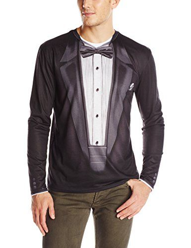 52f021b41 Dress to impress while wearing a simple long sleeve t-shirt that looks like  a nice black tuxedo. This tux t-shirt looks amazing and is just fun to own.