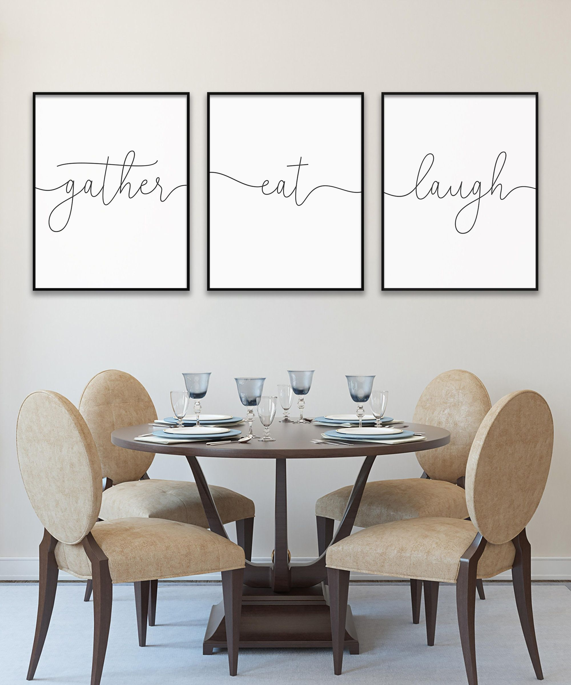 Gather Eat Laugh Family Quote Print Triptych Printable Etsy Christian Wall Art Decor Decor Wall Printables