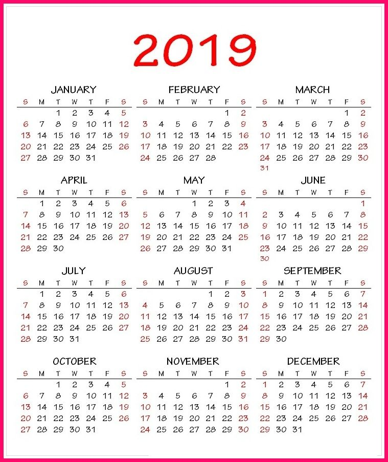 2019 Calendar Pdf Template 2019 Calendar Template In One Pages