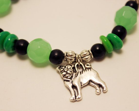 Green Bead Stretch Bracelet with Pug Dog Charms by ThisPugLife, $10.00