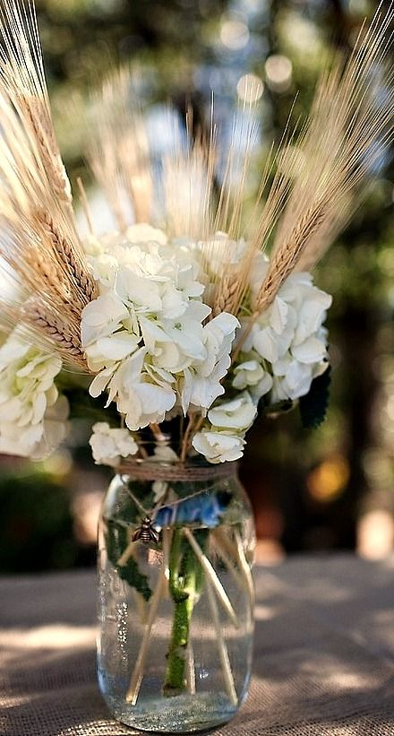 Mason Jar Centerpiece Outdoor Entertaining Fall Wedding Centerpieces Wheat Wedding