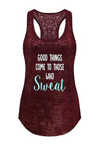 Tough Cookie's Women's Good Things Come To Those Who Sweat Print Burnout Tank Top (Large - LF, Maroon) 3
