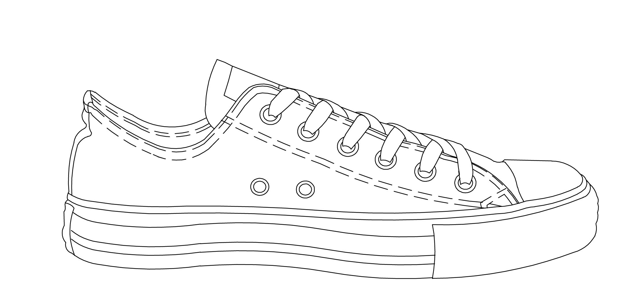 Easy drawing of converse shoe | Drawing | Converse drawing ...
