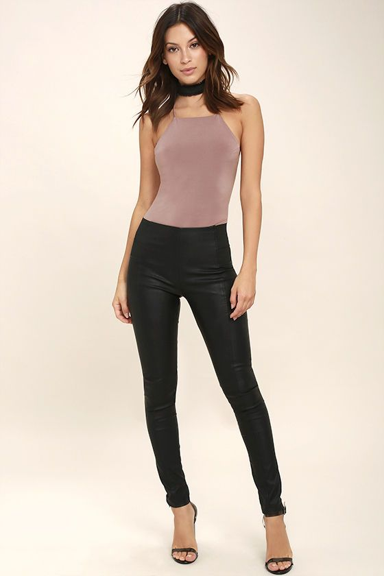Yvonne Mauve Lace-Up Bodysuit  c83e6ccc3