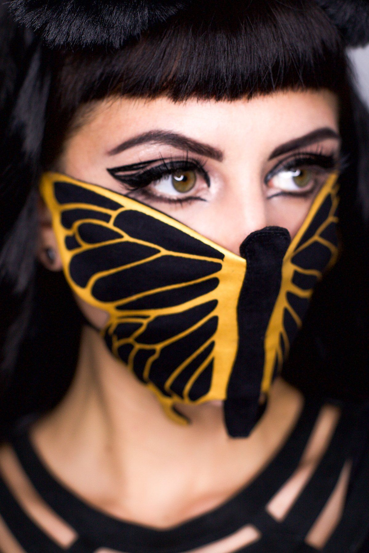 5D Butterfly Bandanna - Black/Gold-SHIPS NOW