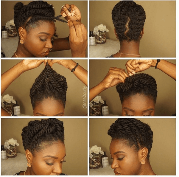 Stunning Flat Twist Updo For Natural Hair Shows You How To Create An Elegant And Easy Protective Style Hair Styles Flat Twist Updo Natural Hair Updo