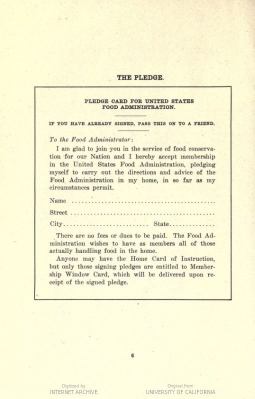 The meatless wheatless meals of world war i america history the pledge card featured in a us food administration pamphlet containing recipes with substitutions forumfinder Choice Image