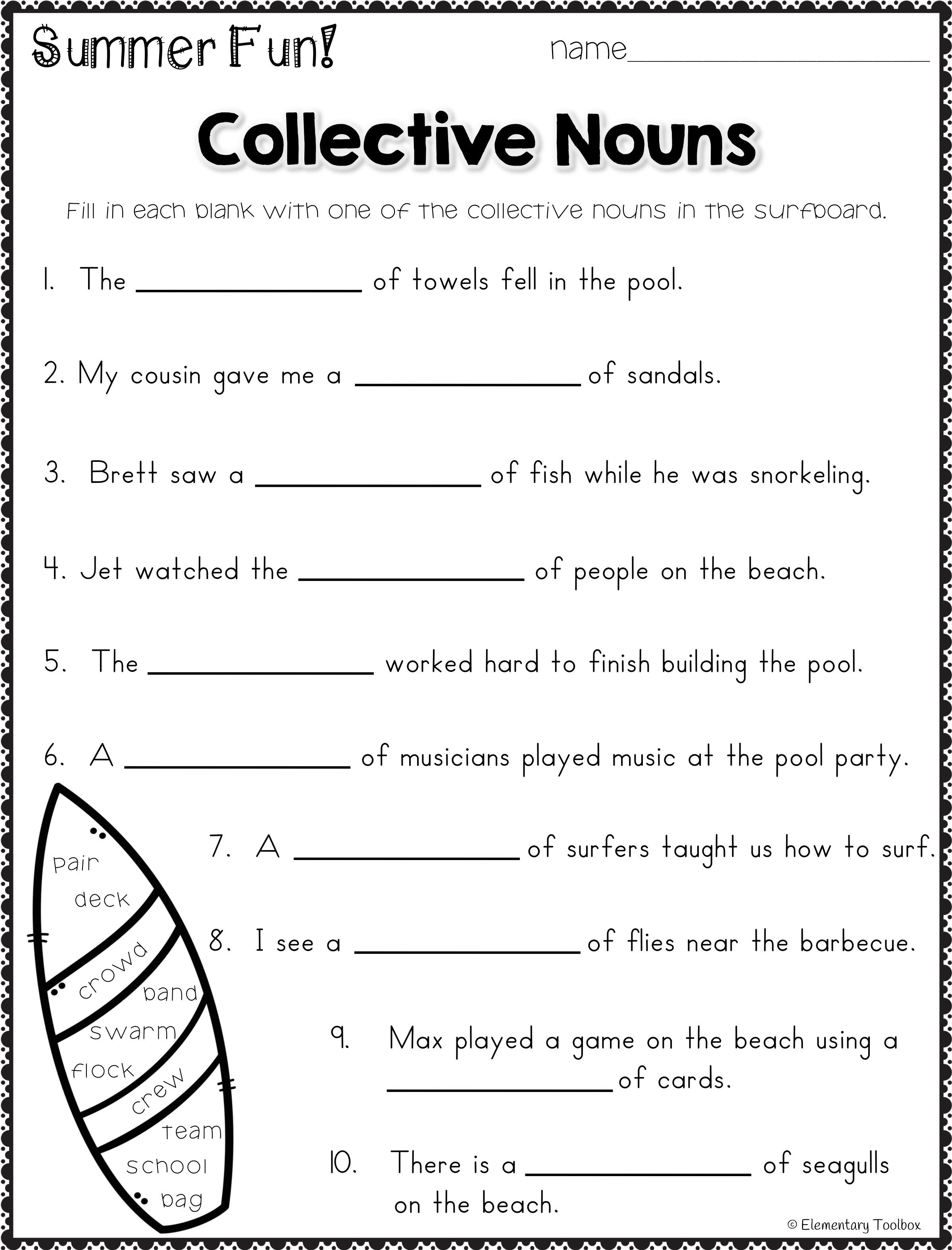 Grammar practice is a blast with this packet of summer themed no prep  printables! These fun pages cover alm…   Collective nouns [ 3148 x 2399 Pixel ]