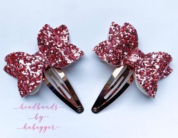 Dark Pink and Rose Gold Pig Tail Snap Clip Sets, Girls Hair Clips, Pink Hair Bow Clips, Photo Prop, Pig Tail Bows #hairclips