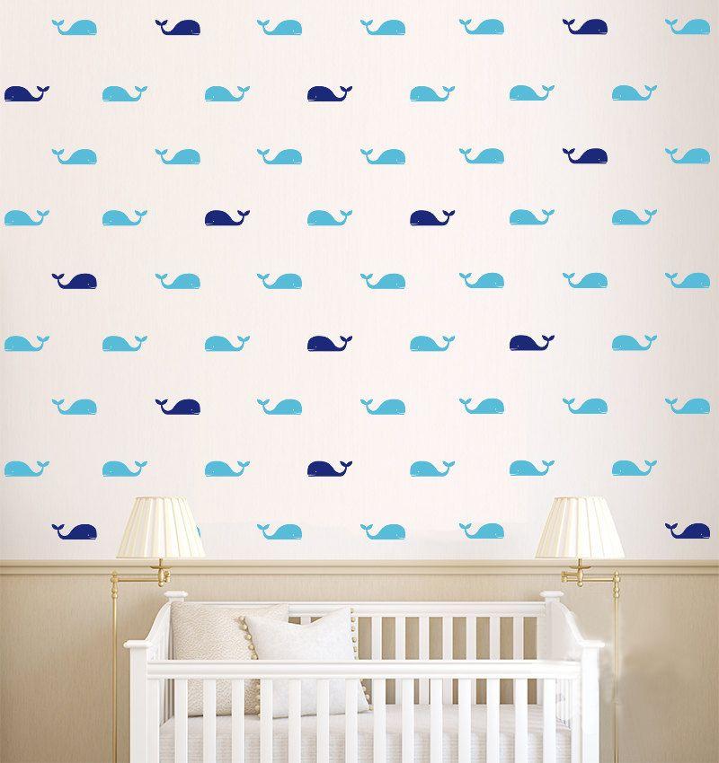 60 Teile/satz Whale Wandtattoo Fisch Wale Wandaufkleber DIY Baby Room Home  Dekoration Wandkunst Aufkleber