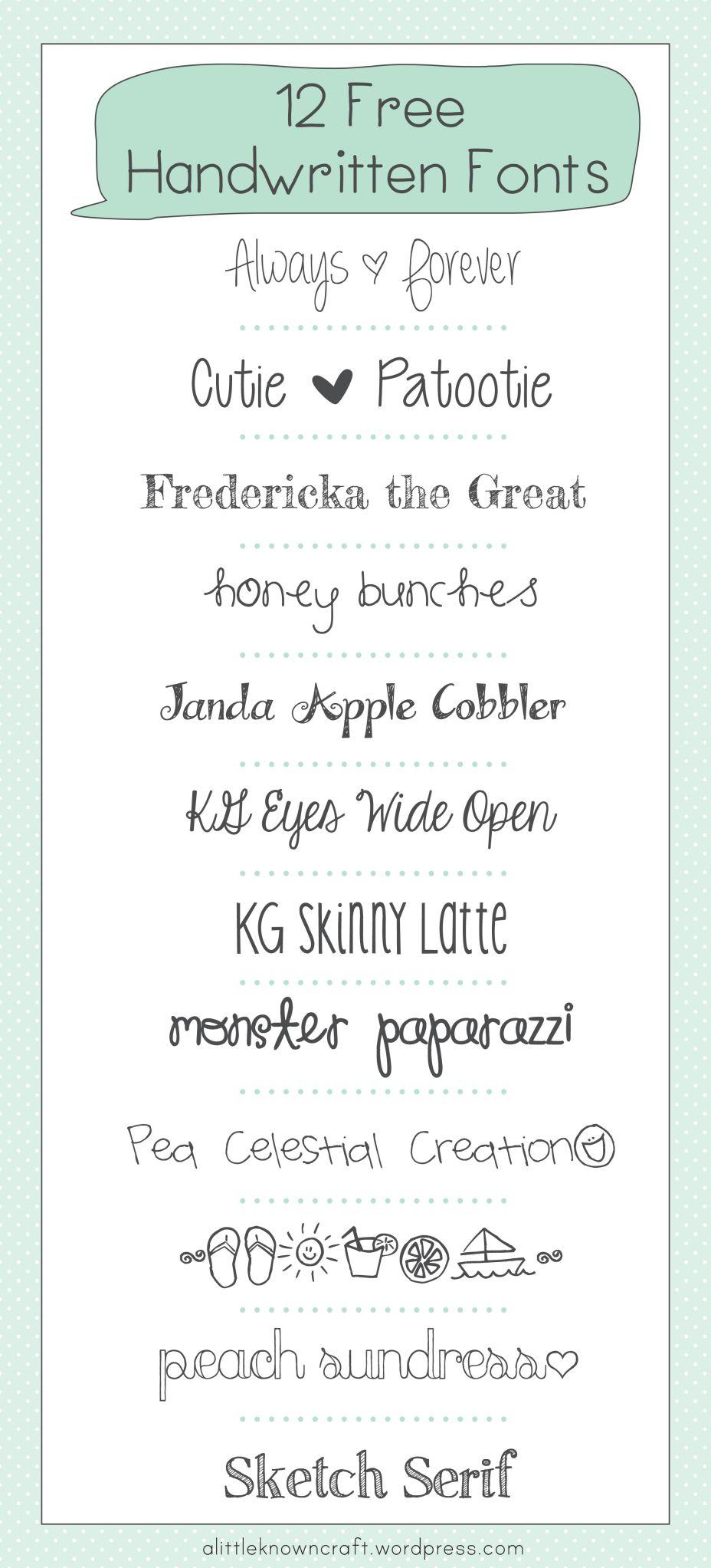 12 Free Handwritten Fonts Free handwritten fonts