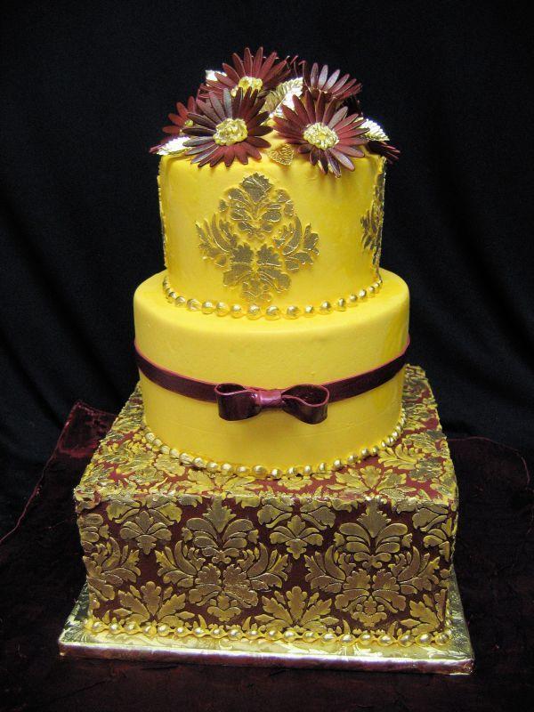 Gold, yellow and burgundy damask pattern wedding cake | Cakes ...