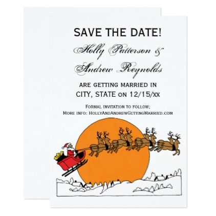 Santa Reindeer Over Snow Covered Town Moon Card Wedding and Weddings