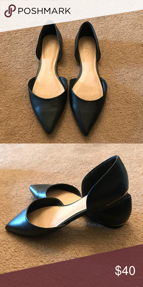 Black Aldo pointed flats | Pointed