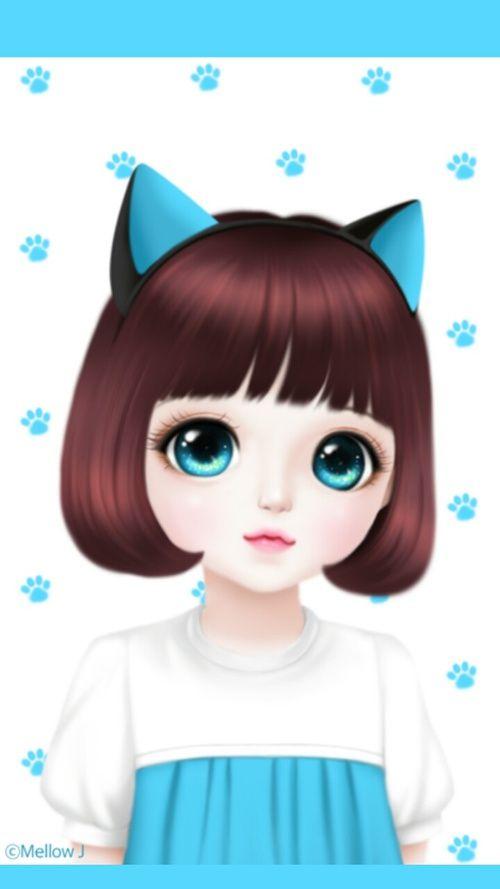 Imagen De Enakei Blue Cat And Girl Y L A Ilustrasi Lukisan