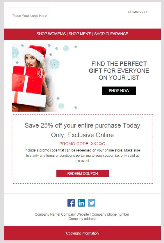 Email Marketing Template Christmas Our Templates Pinterest