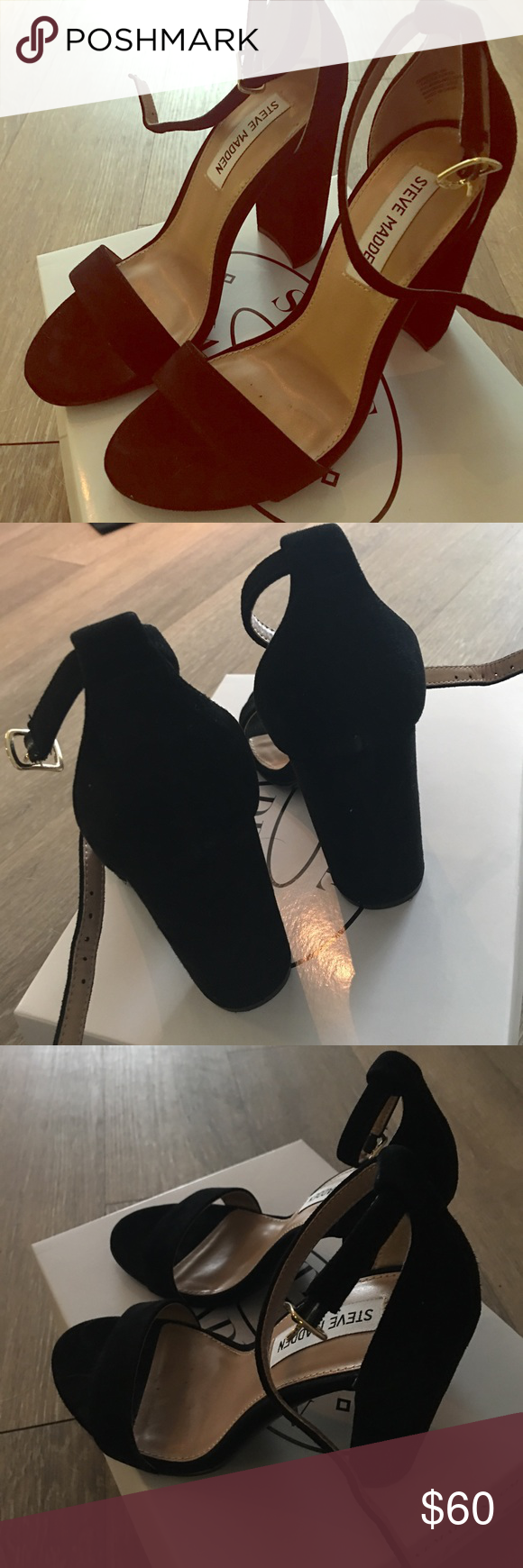 Steve Madden Black Suede Carrson Heel Steve Madden Carrson Heel in Black Suede, Only worn once for about 3 hours. In great condition Steve Madden Shoes Heels