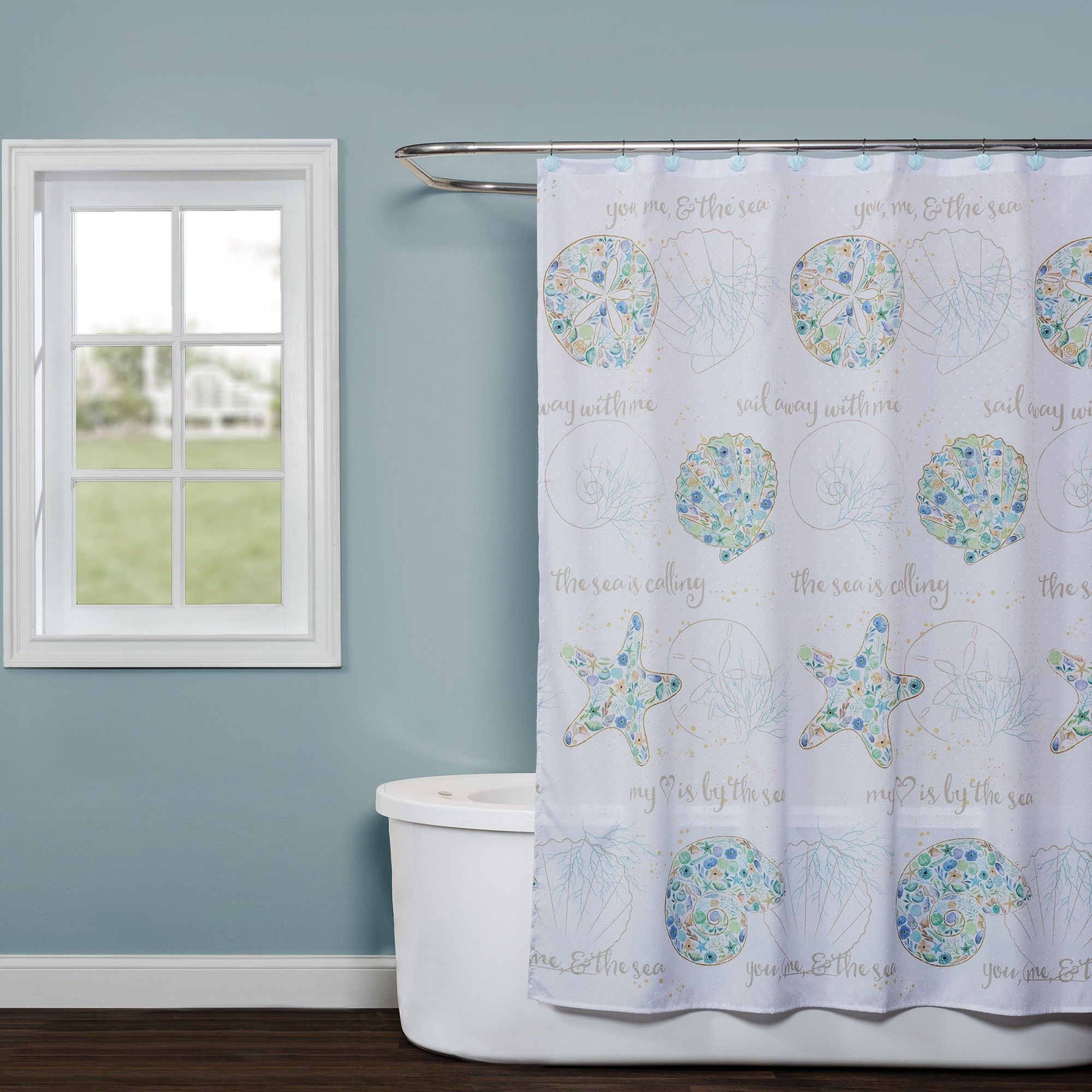 Seaside Blossoms Shower Curtain White Saturday Knight Ltd With