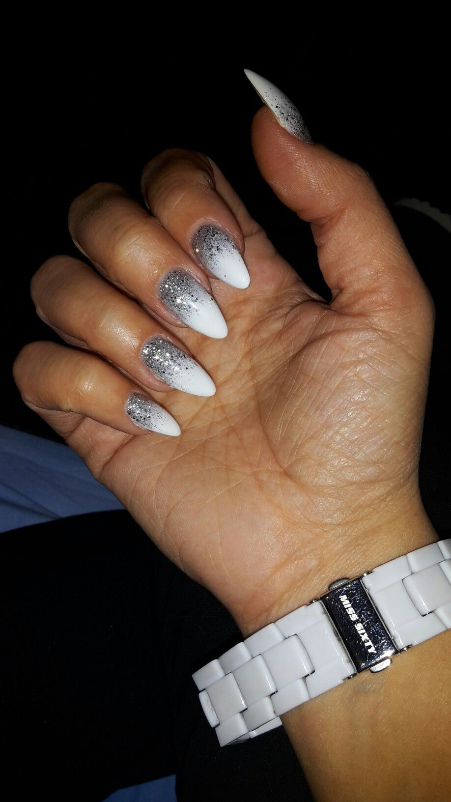 White and Silver glitter Almond Nails, Winter, Ice, Cold | my nails ...