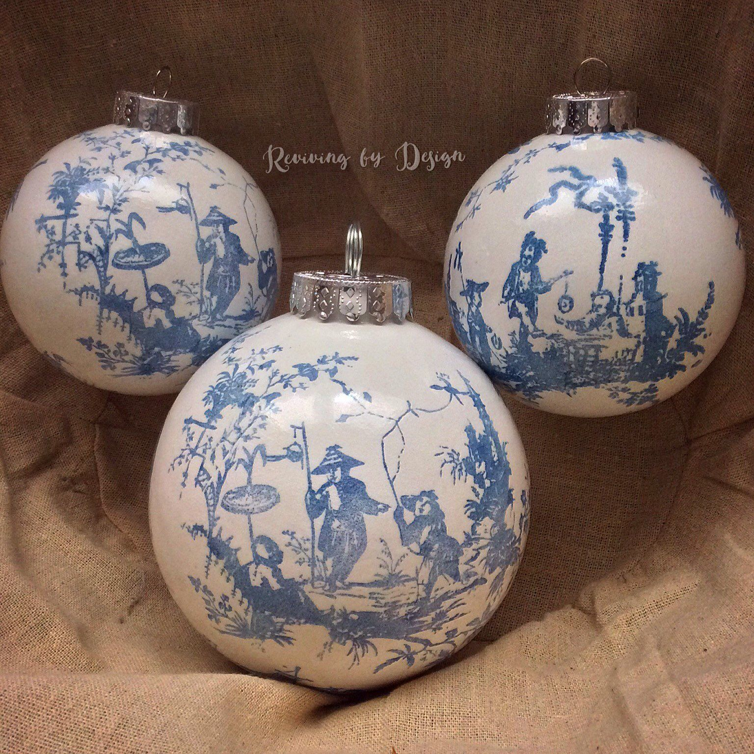 Old World Elegance: Set Of 3 Christmas Chinoiserie Globe Ornaments, Home Decor