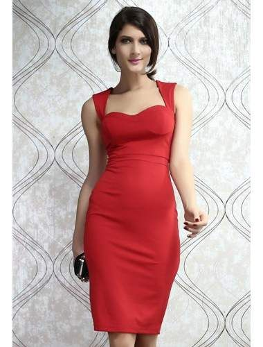 77df3cb4acf1 Red Padded Cut out Back Midi Dress