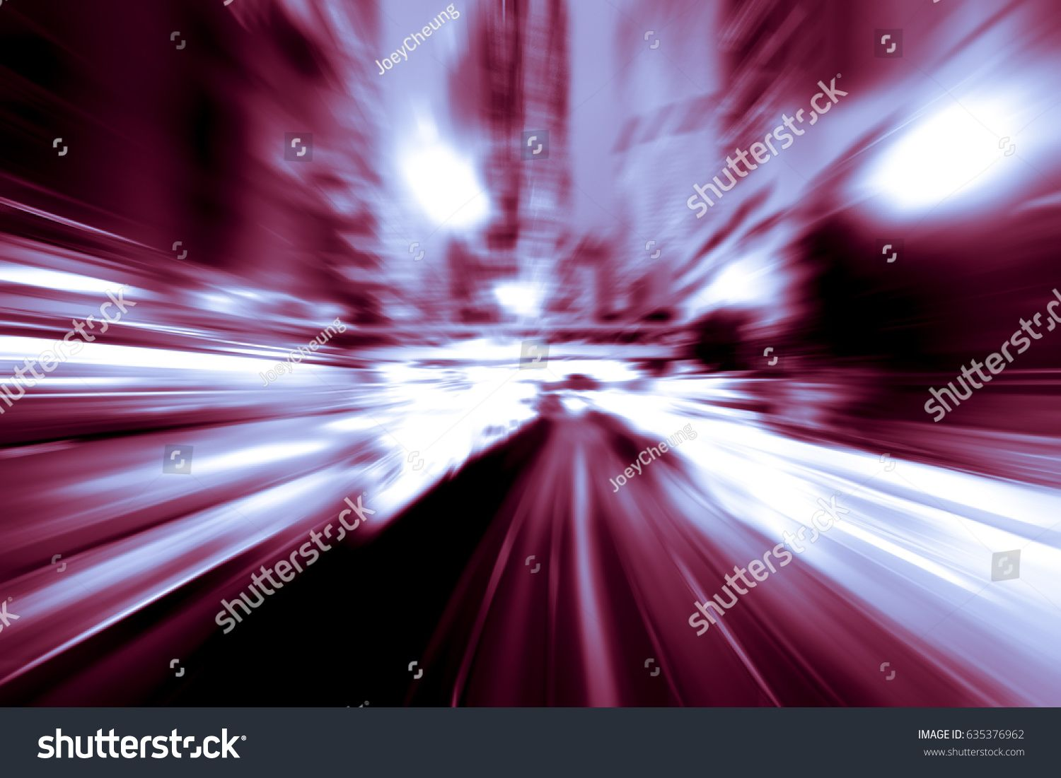 Abstract Image Of Night Traffic Light In The City With Red Color