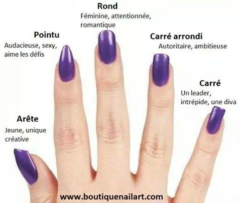 Les diff rentes formes d 39 ongles beaut coiffure pinterest ongles forme et beaut coiffure - Forme d ongle ...
