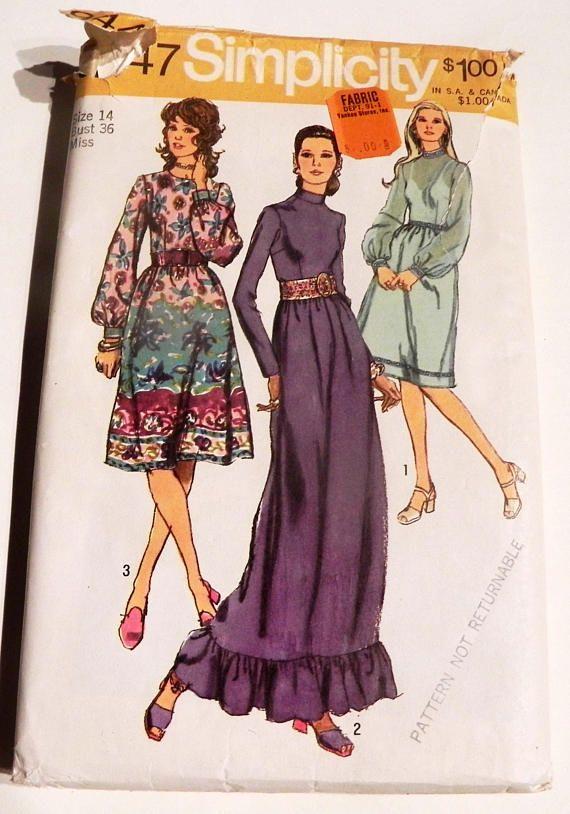 1970s Boho Maxi Dress Ruffle Bishop Sleeve High Neckline Evening ...